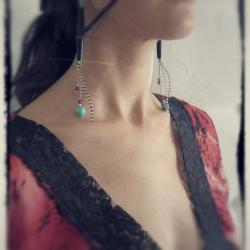 Raven Queen long dangle chain earrings hairpipes carved turquoise skulls natural garnets feathers